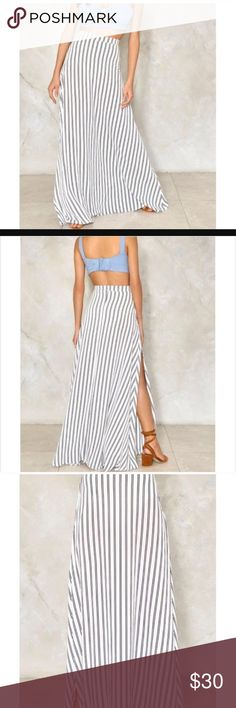 NWT Nasty Gal Striped Skirt New with tags Nasty Gal striped skirt. A bit on the longer side. Slot on the right side to about mid thigh. Says size six but fits size 2. This is due to international sizing. Nasty Gal Skirts Maxi
