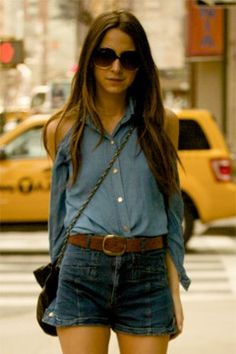 high wasted denim shorts tucked denim chambray