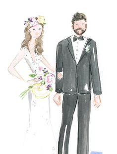Order by Feb. 1st for Valentines day delivery!  Are you newly married? Looking for a unique gift for a bride and groom? The perfect gift for a Valentine? I will create a beautiful watercolor 8x10 portrait of the happy couple in my whimsical, folk art style! This listing is for a Bride and Groom, Bride and Bride, Groom and Groom couple in a typical fashion pose against a plain background (see image #2). My goal is to capture the moment - the colors, style and fashion vibe of the couple rather…