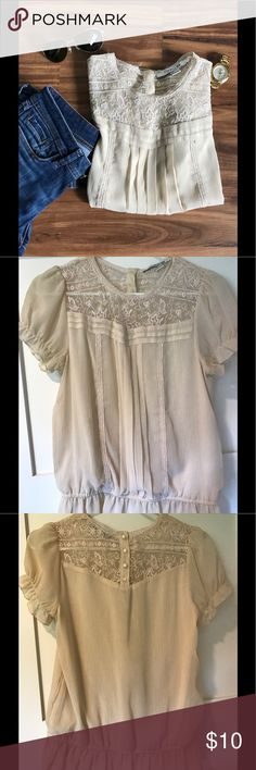 Chiffon Victorian style top F21, Victorian style top with lace, pleating and button detail. Forever 21 Tops Blouses