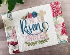 He is Risen Indeed Mug Rug from CharisGiftsofFaith.etsy.com #Easter #mugrugs #springmugrug #Christianmugrug #Eastercoaster #snackmat Bridal Shower Flowers, Bridal Shower Gifts, Housewarming Gift Baskets, Gift Of Faith, Christian Gifts For Women, Embroidered Gifts, Christmas Dishes, Coffee Lover Gifts, Unique Gifts
