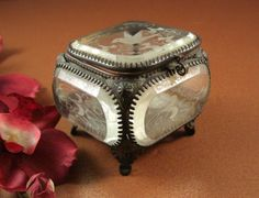 Antique Beveled Glass Jewelry Casket // Etched Dove // Trinket Box // 1800s