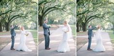 Bride and groom dancing in the Avenue of Oaks at The Legare Waring House in Charleston, SC //Aaron and Jillian Photography » Husband and Wife International Engagement & Wedding Photographers based in Charleston, South Carolina.