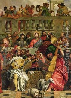 Paolo Veronese (Caliari): The Marriage Feast at Cana, detail of Christ and musicians, c.1562 - reproduction oil painting