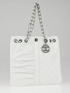 Chanel White Quilted Leather Heads or Tails Petite Shopping Tote Bag