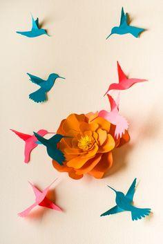 3d Hummingbird Art 3D Bird Wall Art Wall Birds Set | Etsy Bird Nursery, Hummingbird Flowers, Bird Wall Art, Tropical Birds, Christmas Tree Themes, Handicraft, Paper Crafts, Diy Crafts, Art Pieces