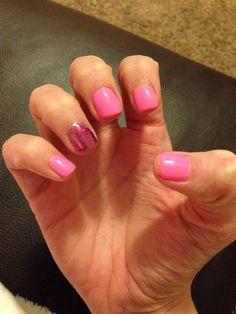 Valentines day nails! #pink #glitter