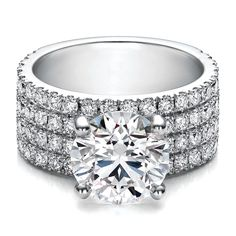 Large Round Diamond Four Row Pave Diamond Engagement Ring