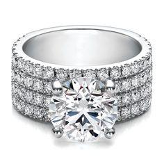 Large Round Diamond Four Row Pave Diamond Engagement Ring