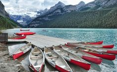 Canoes, Lake Louise in Banff National Park, Alberta, Canada Parc National De Banff, National Parks, Beautiful Landscape Photography, Beautiful Landscapes, Kayaks, Lake Louise Alberta Canada, Lac Louise, West Coast Canada, Natural Scenery