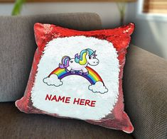 Unicorn on rainbow Personalized Sequin Cushion cover with your name unicorn sequin pillow personalised cushion cover magic sequin cover by funkytshirtsfactory on Etsy Sequin Pillow, Unicorn Cushion, Personalised Cushions, Cushion Covers, Soft Fabrics, Sequins, Sofa, Rainbow