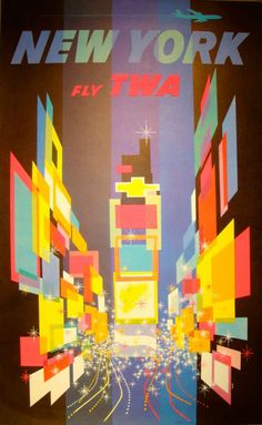 American illustrator, David Klein (1918-2005), created numerous travel posters for Howard Hughes' Trans World Airlines (TWA) in the 1950s and 1960s. This one has been a permanent display at MoMA since 1957.