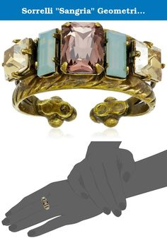 """Sorrelli """"Sangria"""" Geometric Crystal Double Band Ring. Handcrafted. Adorned with crystals. Antiqued Gold Tone Plated Brass. Unparalleled design with a lifetime guarantee. Ring adjusts between sizes 6-8. Imported."""