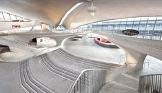 Jet Blue gets the green light to turn Eero Saarinen's iconic terminal structure at JFK into the 'The TWA Flight Center Hotel. Chinese Architecture, Modern Architecture House, Futuristic Architecture, Architecture Design, Modern Houses, Twa Flight Center, Eero Saarinen, Zaha Hadid Architects, Alvar Aalto