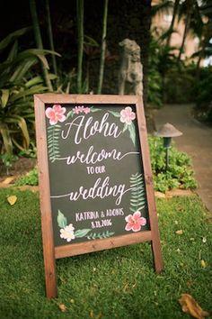 Aloha welcome chalkboard wedding sign   Anna Kim Photography