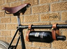 A bike frame wine carrier! Now all I need is a bike frame baguette carrier, and a cheese chiller! Wine Rack Design, Leather Bicycle, Wine Carrier, Bottle Carrier, Wine Bottle Holders, Cup Holders, Gifts For Wine Lovers, In Vino Veritas, Bike Frame