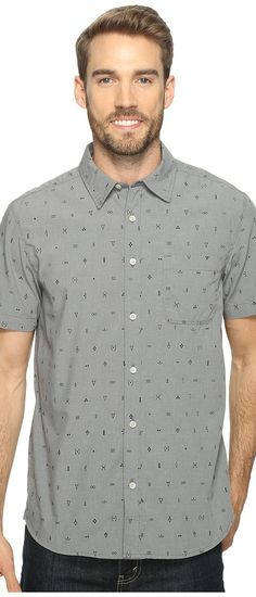 The North Face Short Sleeve Pursuit Shirt (Zinc Grey Uncharted Print) Men's Short Sleeve Button Up - The North Face, Short Sleeve Pursuit Shirt, NF0A2UMNSJA, Apparel Top Short Sleeve Button Up, Short Sleeve Button Up, Top, Apparel, Clothes Clothing, Gift, - Street Fashion And Style Ideas