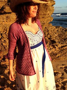 Gorgeous spring ~ summer cardi .... pattern 'Lizzie' by Georgie Hallam.  Seamless, topdown with only a 6 stitch lace stitch to manage!!  Knit in 5ply weight yarn AUD$6.00 for Ravelry download with option of two versions ~ Print or digital for tech devices
