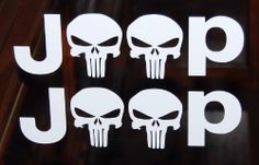 Punisher Jeep Text Vinyl Decal White Auto Window Sticker 1 Sheet of 2 steves vinyl decals,http://www.amazon.com/dp/B00GLE25WA/ref=cm_sw_r_pi_dp_9-fOsb164JYSTK1E