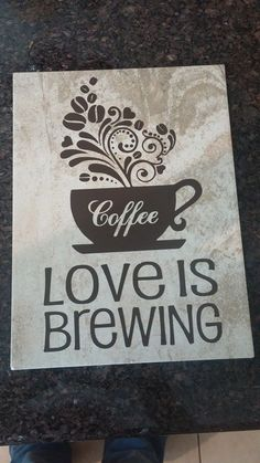 Coffee plaque on tile  Using Oracle Permanent Vinyl and Silhouette Cameo . www.facebook.com/thequeenbeechic