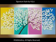"""Original Large acrylic Painting Heavy Texture Palette Knife Flowers landscape Wall Décor """"White Blooming Tree"""""""