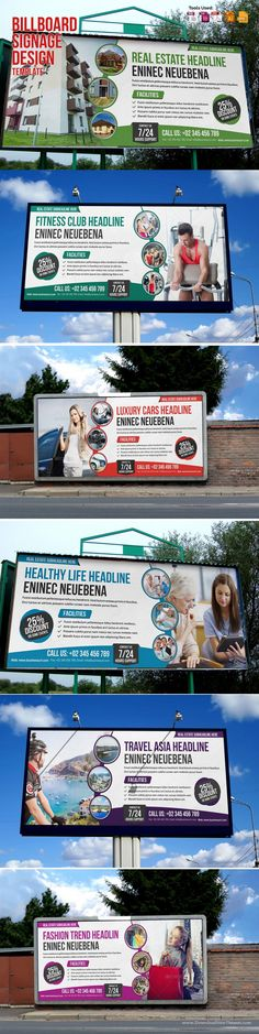6 Creative & Modern Multipurpose #Billboard Signage Template. Ready to use…