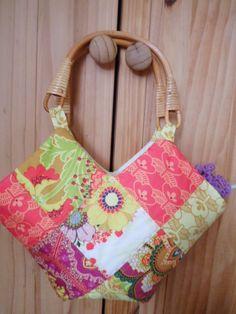 Patchwork bag with wicker handles using Art Gallery Fabrics Rhapsodia Range