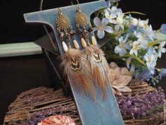 Серьги с перьями - Покахонтас, коричневый, бежевый - серьги с перьями, серьги с перьями нарядные, перья