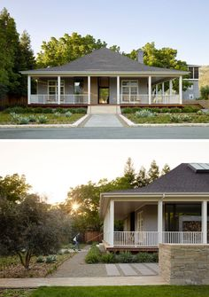 Natural Home Decor A dated and dark farmhouse was turned it into a bright and airy modern home with light grey wood shingles and minimized columns.