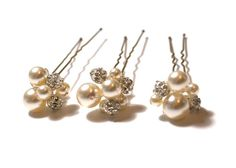Pearl Hair Pins, Set of 3 Cluster Hair Pins, Viel Bobby Pins, Swarovski Pearl U Pins, Bridal Hair Accessory, Ivory & Crystal Pearl Hairpins
