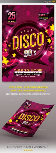Disco Cocktail Flyer Template | Flyer Template, Event Flyers And