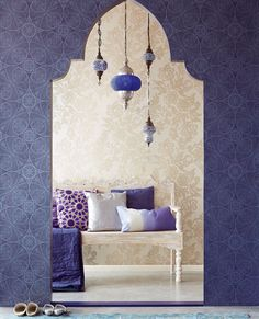 Elements of Moroccan Style lots of patterns - Arabesques & large floral layered pillows sumptuous textures clustered pendants with surface decoration strong purple color Moorish arched doorway. Morrocan Decor, Moroccan Bedroom, Moroccan Interiors, Moroccan Lanterns, Moroccan Design, Moroccan Style, Style At Home, Bohemian Decor, Boho