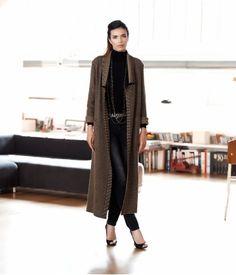 DEVERNOIS - Long manteau maille noire et or