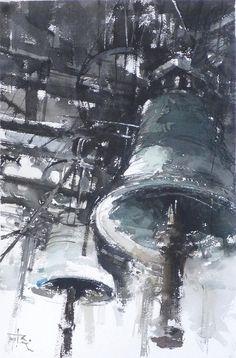 Bells In Trogir Painting by Tony Belobrajdic