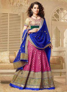 Bollywood Designer Saree Sari Exhilarating kangana ranaut pink lehenga choli with Blouse Party Wear Saree Indian Sari Wedding Saree Sari