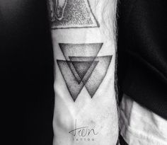 Three overlapping triangles dotwork tattoo triangle 3 monochrome venn