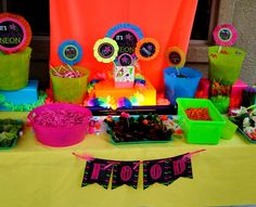 NEON Party- BANNERS- Teen Party Printables- Glow in the Dark- 80's Party Printables- Tween Party