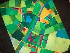 Quilt based on aerial landscape. Copyright Alicia Merrett