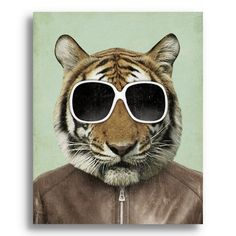 "The Cool Tiger""  Handmade wood block print by Kevin Luciu"