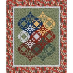 Ornamental Bliss Quilt Pattern Using storm at sea. This might make a great Christmas quilt