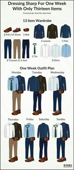 Fashion infographic & data visualisation 13 Item Interchangeable Wardrobe Infographic – One Week Outfit Plan Infographic Infographic Description Dressing Sharp For One Week with only 13 Items – Infographic Source – Mode Masculine, Big Men Fashion, Fashion Tips, Style Fashion, Trendy Fashion, Curvy Fashion, Fall Fashion, Fashion Ideas, Fashion Black