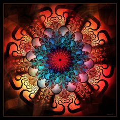 Mandala ~ Radiating Energy by *Szellorozsa Fractal Design, Fractal Art, Circle Art, Computer Art, Mandala Art, Mandala Meditation, Buddha Meditation, Sacred Geometry, Peace And Love