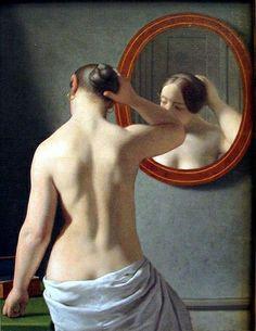 Eckersberg, Christoffer Wilhelm (1783-1853) - 1841 Woman Standing in Front of a Mirror (Hirschsprungske Collection, Copenhagen, Denmark)