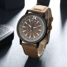 New Mens Stainless Steel Leather Band Analog Quartz Fashion Military Wrist Watch | eBay