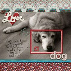 """""""Love is a Dog"""" """"Part Comfort, Part Companion, Fun Entertaining, Loyal & True, This is no Substitute"""" ~ Scrapbook, SMASH book, Project Life, Journal"""