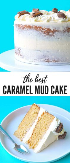 Caramel Cake with White Chocolate Buttercream You'll love this gorgeous two-layer Caramel Mud Cake topped with creamy white chocolate buttercream. It's so easy to make! And delicious! Chocolate Buttercream Cake, Caramel Buttercream, White Chocolate Mud Cake, White Chocolate Recipes, Buttercream Cupcakes, White Cupcakes, Easy Cake Recipes, Dessert Recipes, Easy Birthday Cake Recipes