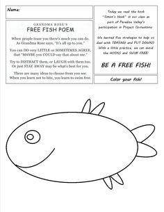 Simon's Hook FREE FISH poem & coloring page