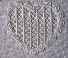 By Luzine Happel - great instructions for stitching this filler pattern… Embroidery Hearts, Embroidery Alphabet, Hardanger Embroidery, Types Of Embroidery, Hand Embroidery Stitches, White Embroidery, Embroidery Techniques, Embroidery Patterns, Cross Stitches
