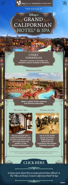 Plan your next Disney Vacation Club vacation to the Villas at Disney's Grand Californian Hotel & Spa with our helpful Member Planning Pin showing what unique experiences are available at this Resort. Did you know the Resort offers a fitness center to Hotel Guests? Or try pampering yourself with a spa treatment at the Mandara Spa. Click to learn more!