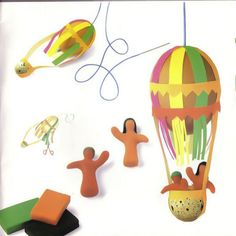 hot air balloon made of chicken and quail egg and colorful strips of paper